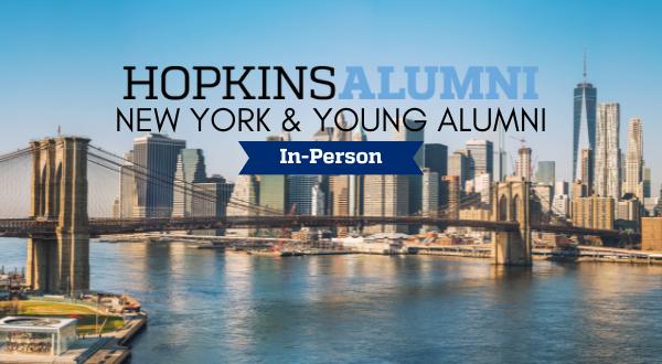 Manhattan skyline with Brooklyn Bridge, Hopkins Alumni In-Person banner