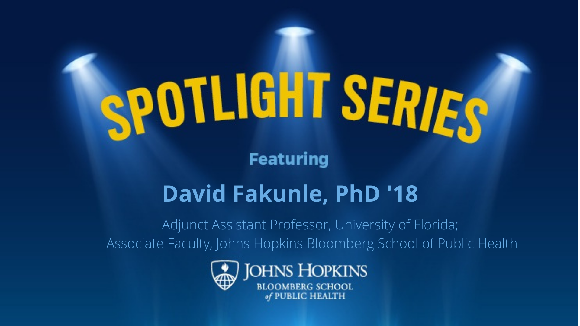 spotlight series logo, blue background yellow text